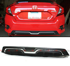 For 2016-17 Honda Civic X Sedan Carbon-Look Texture Chrome Rear Bumper Diffuser