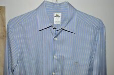Lacoste $145 Spring Blue Tan Striped Cotton Casual Shirt Men's Size 40 M Medium