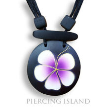 Lila Hibiscus Blüte Blume Halskette längenverstellbar Anhänger Holz Amulett N081