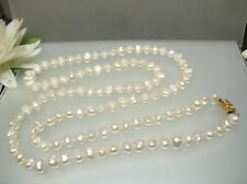 "32"" Vintage Japanese freshwater Biwa pearl estate necklace Flat oval side drill"