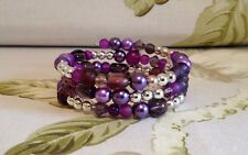 Stunning Purple Aubergine Assorted Crystal Pearl Bead Memory Wire Bracelet Cuff