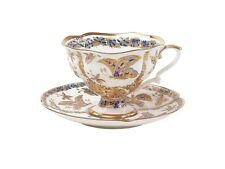 Russian Imperial Lomonosov Porcelain Bone Tea Cup & Saucer Fabulous Butterflies