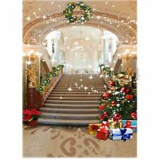 5x7FT Christmas Tree Stairs Studio Photography Background Backdrop Prop Vinyl