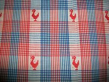 EMBROIDERED ROOSTERS ON RED WHITE AND BLUE COTTON FABRIC