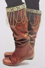 Women Ethnic Beaded Native Style Boot Topper Winter Gold Metal Chains Charm Pair