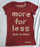 Ladies DESIGUAL Short Sleeve Top / T-Shirt Red 'more for less' Bargain