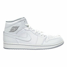 NIB NIKE Mens 12 AIR JORDAN 1 MID 554724 112 WHITE GREY BASKETBALL SHOES $110