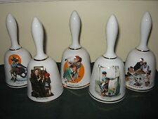 Norman Rockwell Limited Edition Set 5 Danbury Mint Bell Series Made in W Germany