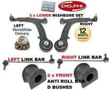 Para Fiat Panda 03 & gt 2x Frontal Wishbone Arm & 2x Estabilizador Bares & 2 Anti Roll Bush