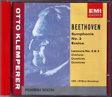 Otto KLEMPERER: BEETHOVEN Symphony No.3 Eroica Leonore Overture 2 3 EMI CD 1955
