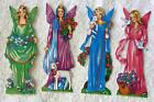 Set of 4 Vintage 1970s Angel fairy Decoupage Christmas tree decorations K14