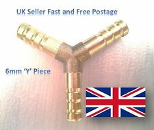 "6mm (1/4"") Brass Y Piece Barbed Connector Pipe Fitting Air Fuel Hose Joiner WFP"