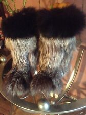 GORGEOUSE SILVER  FOX  NATURAL FUR   WOMEN BOOTS SZ 7,5/8