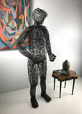 Vintage Life Size Abstract Wire Man Sculpture Brutalist Art Mid Century Modern