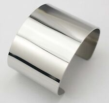 Wide Large Shiny Metal Silver Big Cuff Bangle Braclet Punk Rock Simple Bangles