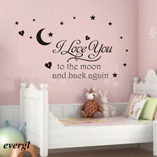 Baby I Love You to Moon Sleep Wall Sticker Quote Decal Play Room Art Decor Black