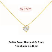 Dolly-Bijoux Femme Chaine Pendentif Coeur Diamant Cz Multifacette 6mm Or 9K 42cm