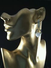 ALEXIS BITTAR MISS HAVISHAM WHITE MOTHER OF PEARL & CRYSTAL EARRINGS