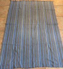 "Vintage Dogon,Mali Blue, Tan Striped Fabric/Hand Woven Cotton Strips/42""x59"""