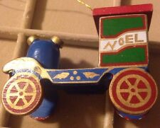 Vintage Wooden Choo Choo Train Labeled NOEL Christmas Ornament