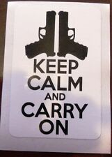 "Guns ""Keep Calm and Carry On"" sticker decal sign 2.5x4.5"""