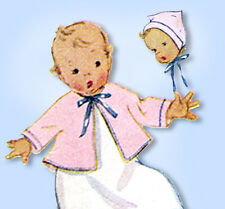1940s Vintage McCall Sewing Pattern 4382 WWII Newborn Infant Baby Layette ORIG