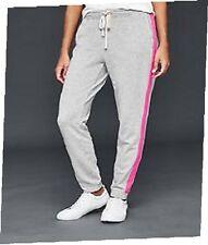 NWT  GAP  Womens Joggers Sweatpants  Grey with Pink Skinny Side-Stripe XXL 2XL
