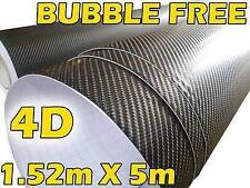 GLOSS 4D CARBON FIBRE VINYL ROLL FULL CAR WRAP 1.52M X 5M BUBBLE FREE BLACK