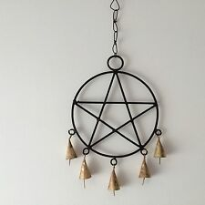 NEW METAL WALL ART PENTAGRAM WIND CHIME HANGING DECORATION MOBILE, BELLS, PAGAN