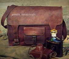 Men's Genuine Vintage Leather Messenger Shoulder Laptop Briefcase handmade bag