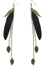 F1932 fashion black Feather bronze leaf chain light dangle earrings New