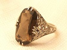 Estate Vintage Sterling Silver CNA Signed Smokey Topaz Filigree Ring
