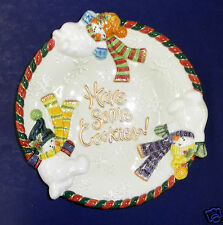 """Fitz and Floyd Frosty Folks """"Have Some Cookies"""" Canape Plate- New in Box- 19/447"""