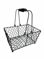 Rectangular Black Wire Metal Basket Vintage Kitchen Garden Wedding Decoration
