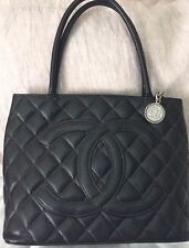 Auth. Chanel Medallion Black Caviar Leather Quilted Bag Silver Hdwr #11899613