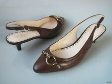 new COACH Dacota dark brown slingbacks gold logo buckle shoes 8.5 - super cute