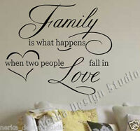 WALL QUOTE FAMILY LOVE WALL STICKER Vinyl Wall Art Decal WALL QUOTE STICKERS N35
