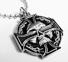 CELTIC Skull German Iron Cross Harley Biker Military Pendant Necklace w/ Chain