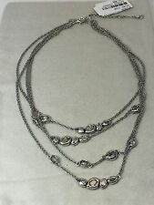 NEW Alexis Bittar Elements MoonlighPavo Multi Chain Rhodium Plated Necklace $295