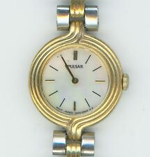 PULSAR V400 0810 RO SILVER/GOLD tone WATCH W/ MOTHER OF PEARL FACE WORKING  0865