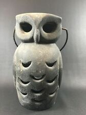 VINTAGE CAST IRON OWL GARDEN CANDLE HOLDER LAMP