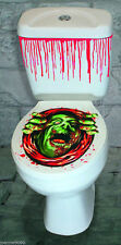 HALLOWEEN GREEN MONSTER 3D TOILET SEAT COVER STICKER DECORATION