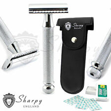 New Sharpy Smooth Double Edge De Safety Razor + Derby10 Blades & Pouch Free R-36
