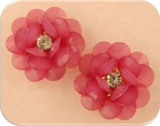 2 Hole Beads Qty 2 PINK Facet Flowers w/Clear Swarovski Crystal Elements GOLD