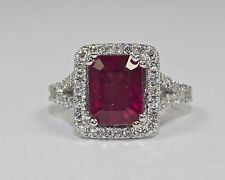 14k White Gold Emerald Cut Red Ruby And Round White Diamond Halo Ring Size 4.75