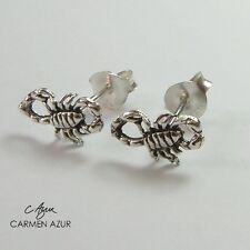 Sterling Silver Stud Earrings (Solid 925 Silver) Scorpion New with Gift Bag