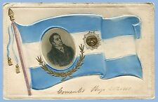 VINTAGE - JUAN JOSE CASTELLI PICTURED ON ARGENTINA FLAG -  CENTENNIAL POSTCARD
