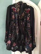 NWT Johnny Was BIYA MORIAN SHORT HOODIE L Large WRAP Hooded JACKET Cardigan COAT