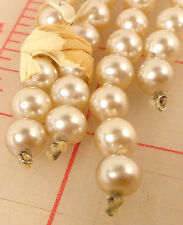 """2 strands vintage beautiful 8mm glass knotted pearl beads Japan Ivory 12"""""""