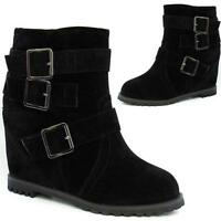 LADIES BIKER BOOTS WOMENS HIGH HEELS WEDGE ANKLE RIDING BLACK DESERT SHOES SIZE